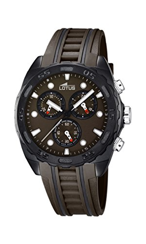 Lotus Men's Quartz Watch with Brown Dial Chronograph Display and Brown Rubber Strap 18159/3