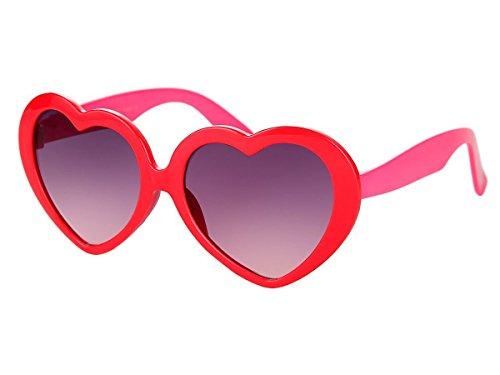 Alsino Mädchen Brille Herzbrille Kinder Sonnenbrille Viper Herzform, Variante wählen:K-93 rot pink