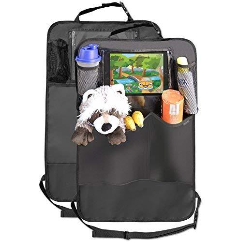 Premium Rückenlehnenschutz (2 Stück), Große Taschen und iPad-/Tablet-Fach, Auto Rücksitz-Organizer für Kinder, Autositz-Schoner wasserdicht, Kick-Matten-Schutz in universeller Passform -