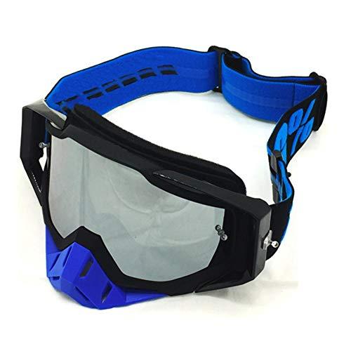 Motorradbrille motocrossbrille helm beschlagfrei winddicht radfahren fahrrad anti-uv sonnenbrille maske atv offroad racing motorrad ski snowboardbrille@Schwarz gerahmte silberne Platte