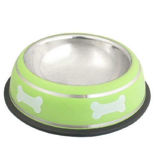 DealMux Edelstahl-Knochen-Print Nonslip Grund Katze Haustier-Wasser-Schüssel Speisen Grün (Non-slip-haustier-schüssel)