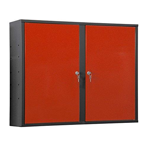ADB Werkstatt Wandschrank/Hängeschrank aus Metall zum Aufhängen mit 2 verschließbaren Türen,...