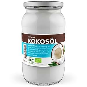 Nutriverde BIO Kokosöl - 1000ml - kaltgepresst - im Schraubglas - Zum KOCHEN ( Braten , Backen ), zur KÖRPERPFLEGE ( Haare , Zähne oder Hautpflege) oder zur TIERPFLEGE ( Hund , Pferd , Katze )