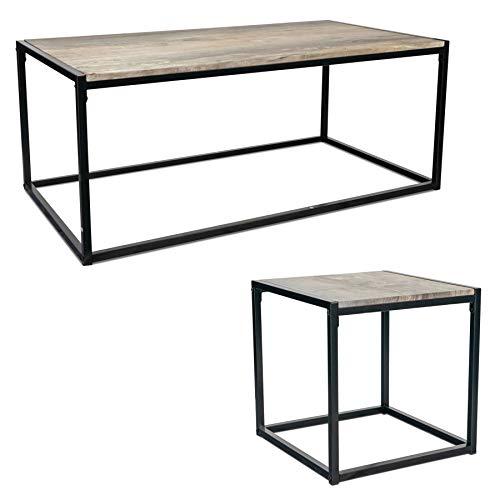 Harbour Housewares Industriekaffeetisch & Beistelltisch - helles Holz/Stahl-Rahmen - Set aus 2