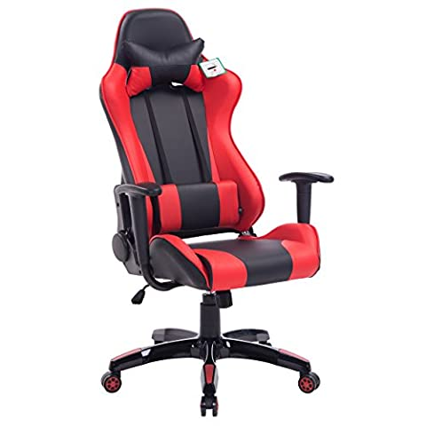 CTF PRO Racing Gaming High Back PU Leather Metal Frame Swivel Office Chair with 3-D Adjustable Armrests (Red)