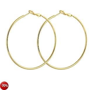Cerchio lucido Yazilind lucido 18K oro Omega indietro orecchini a cerchio rivestita Extra Large 50mm diametro