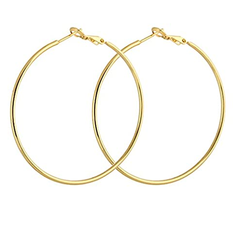 YAZILIND Circle Polished Shiny 18K Gold Plated Omega Back Hoop Earrings 50mm Diameter