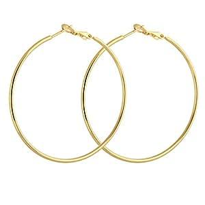 Yazilind Kreis poliert glänzend 18K Gold überzogene Extra Large Omega Zurück Creolen 50mm Durchmesser
