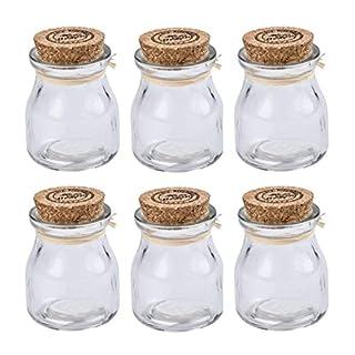 Arti Casa 6 Piece Mini Glass Jars with Cork Lids Mini Spice Jars with Cork Lids HOME SWEET HOME Storage Preserving Jars Small Sweet Jars Wedding
