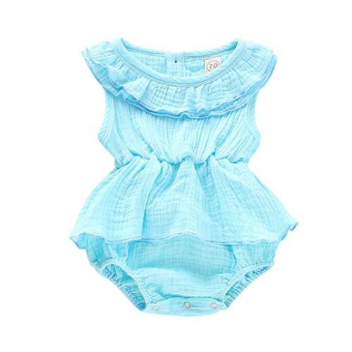 LEXUPE Neugeborenes Baby Mädchen ärmellose Feste Strampler Bodysuit Kleidung Outfits(Hellblau,90)