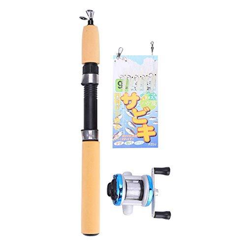 Dilwe Angelruten- und Rollen-Kombinationen, Teleskopspinnruten-Rollen-Set 6 Größen für das Eisfischen im Salzwasser-Süßwasser-Winter,Blaue Rolle, 55cm Rute