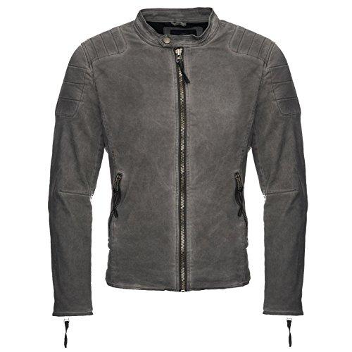 Megastyl Lederjacke Biker-Style Slim-Fit schwarz Oliv-grün, Farbe:Grau, Größe:M