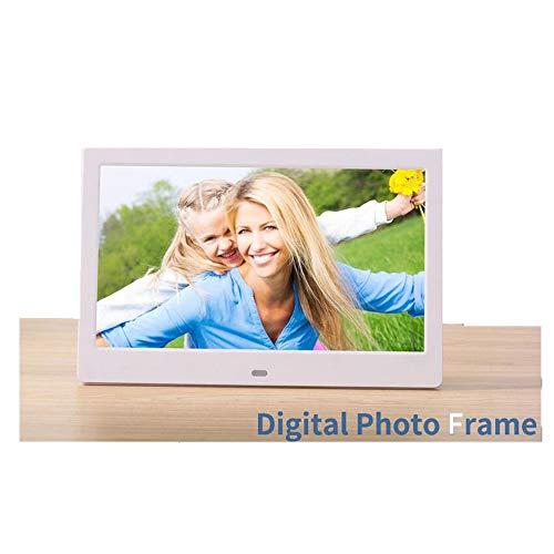 10-Zoll-Digitalfotorahmen Upgrade 1024X600 Hochauflösende IPS-Anzeige Foto/Musik/Video-Player Kalender Wecker Automatische EIN- / Ausschaltuhr, Unterstützung USB Und SD-Karte, Fernbedienung,White