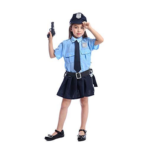 Zubehör Mädchen Polizist Kostüm - LOLANTA 6-teiliges Set Kinder Mädchen Polizei Dress-up School Career Day Kostüm zum Anbringen von Toy Gun Handschellen (10-12 Jahre)