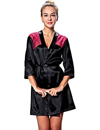 Seawhisper FR34-56 Kimono Robe en satin chemise de nuit lingerie avec dentelle