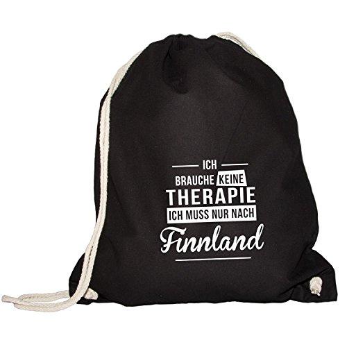 Monkiez Turnbeutel - Ich Brauche Keine Therapie Finnland - Therapy Urlaub Skandinavien, Schwarz