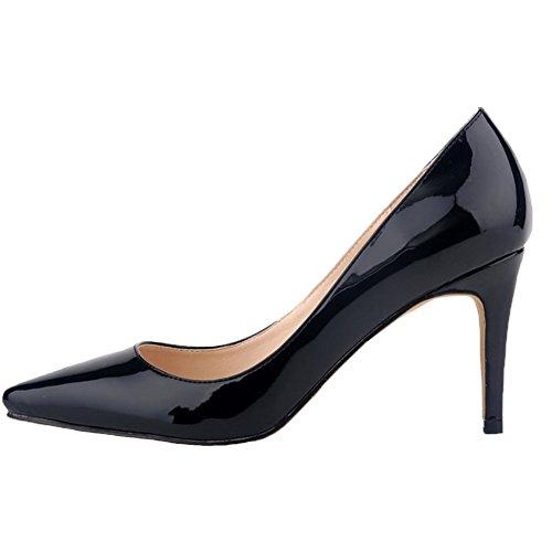 HooH Femmes Pointu Stiletto Chaussures De Mariage Escarpins Noir