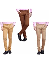 [Sponsored]Nimegh Brown, Wine And Beige Color Cotton Casual Slim Fit Trouser For Men's (Pack Of 3)