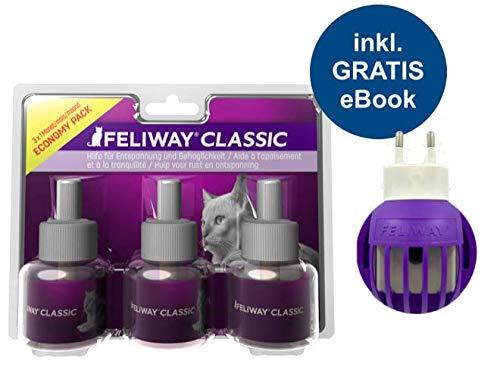 FELIWAY Classic Vorteilspack Plus Stecker (Zerstäuber + 3 Nachfüllflakons 48ml) inkl. Katzen-Wohlfühlguide von Tierglück24