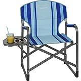 Berger Beachline Regiestuhl mit klappbarem Tisch, blau, kleines Packmaß, gepolsterten Armlehnen