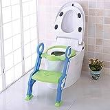 Set Toiletten Coach mit Stoffwindel von Kinderhaus Blaubär | Toilettentrainer mit Treppe | Töpfchentrainer | Kinder-Toilettensitz mit Leiter höhenverstellbar | Sitz für Toiletten 38-42cm, Design:grün