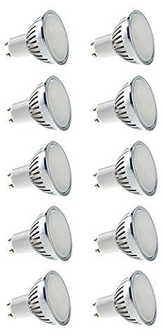JSG Accessories GU10Ampoule–20smd-dw-al-10pk 20SMD LED Super Brillante, jour blanc/aluminium, GU10, 4W, 4000–4500K, Lot de 10