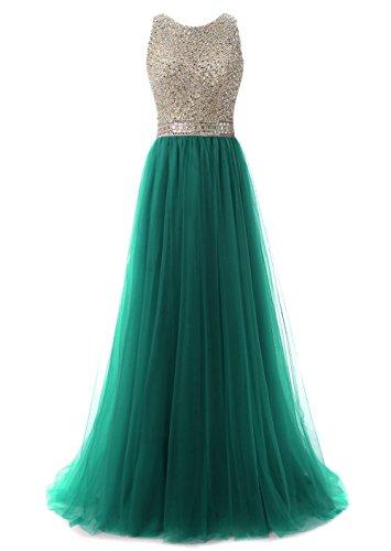 Callmelady Col Haut Perlage Robe de Soirée Longue Robe de Cocktail Chic Tulle Robes Femme Vert