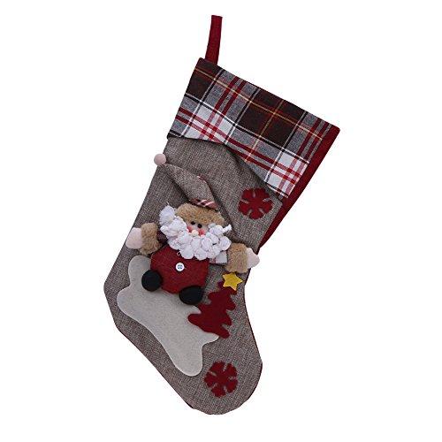 Sencee calza per le feste, di grandi dimensioni, per dolcetti e regali a natale e capodanno, con decorazione, 46cm santa claus