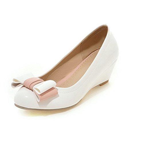 AllhqFashion Femme Verni Rond à Talon Correct Tire Couleur Unie Chaussures Légeres Blanc