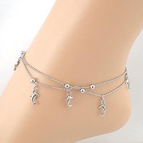 Chaîne de cheville LILICAT Cute Dolphin Fish Chain Femmes Chaussures Fashion Chain Bracelet à cheville Sandal Beach Foot Jewelry (Silver)