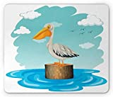 Pelican Mouse Pad, Single Aquatic Bird Standing on a Log Water Blue Sky with Clouds Clipart Style, Standard Size Rectangle Non-Slip Rubber Mousepad, Multicolor