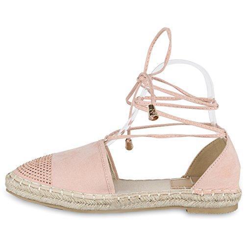 Damen Sandalen Espadrilles Blumen Pailletten Bast Sommer Schuhe Rosa Steinchen