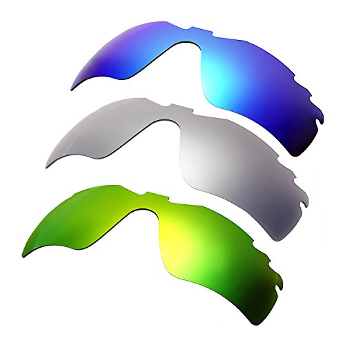 HKUCO Plus Mens Replacement Lenses For Oakley Radar Path-Vented Blue/Titanium/Emerald Green Sunglasses