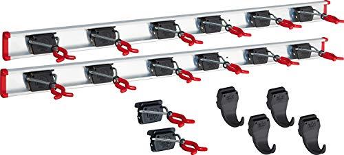 BRUNS Alu-Gerätehalter-Set, inkl.  14 Halter und  4 Haken, mit 2x Schiene 1000 mm, flexible Hakenleiste für Gartengeräte