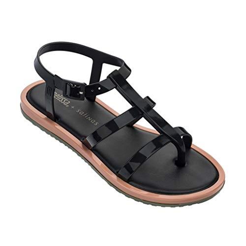 Frauen Gladiator Jelly Flache Sandalen Open Toe Slip on T-Strap Käfig mit Schnalle Leichte Sommer Strandschuhe - Frauen Qupid Kleid Für Schuhe