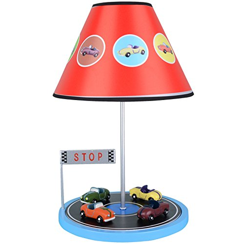 Goney Table Lamp Creative Fashion Personality Pastoral IKEA Racing Car  Lighting for Children's Room/Bedroom/Headboard (Color : Blue-Black and  White)