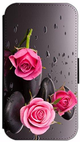 Flip Cover für Apple iPhone 4 / 4s Design 477 Pferd Hengst Weiß Wiese Grün Weiß Blau Hülle aus Kunst-Leder Handytasche Etui Schutzhülle Case Wallet Buchflip (477) 504