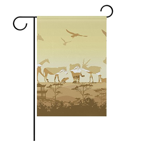 Wild-tier-silhouette (LIANCHENYI Wild Tiere Silhouetten doppelseitig Familie Flagge Polyester Outdoor Flagge Home Party Decro Garten Flagge 71,1x 101,6cm)
