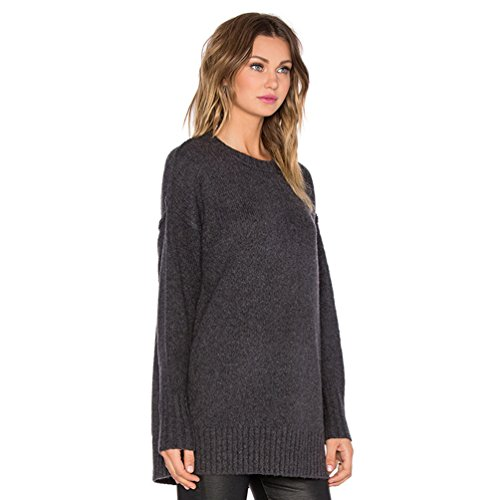 WanYang Femme Pull Casual Couleur unie à Top Pull manches longues Jumper Outwear Automne Col Rond Noir