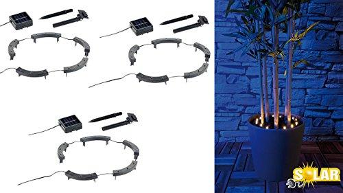 Lunartec Pflanzenlampen: Solar-Rundum-Licht f. Blumen, 15 LEDs, Dämmerungssensor, IP44, 3er-Set (Blumen Beleuchtung aussen)