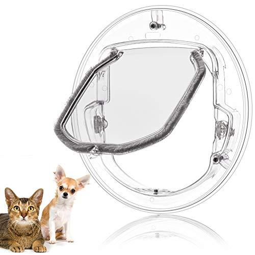Smandy Katzenklappe Haustierklappe 4 Wege Verriegelung Haustiertüre Klare Klapptür, Robust, Wetterresistent und Einfache Installation, für Katzen und kleine Hunde