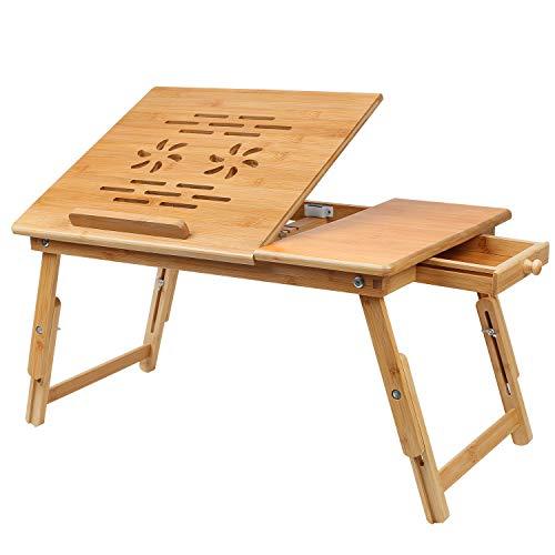 Hossejoy Laptoptisch aus Bambus, Notebooktisch Betttisch Lapdesks für Lesen oder Frühstücks und Zeichentisch Laptops höhenverstellbar Faltbare 55 x 35 x 33 cm