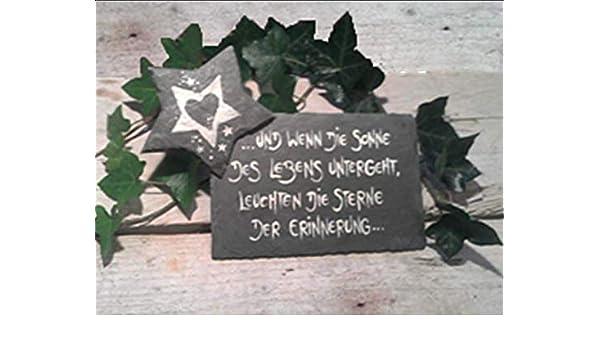 Zeitlose Grabzierde//Anfertigung nach ihren W/ünschen//frei Hand gemalt und gebrannt//Grabschmuck//Schiefer//Stern//Herz//Grabgesteck//Grabstein//Frostfest