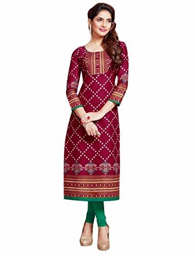 Miraan Women's Dress Material (BAZO1132_Red_Free Size)