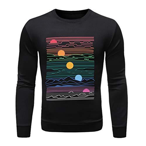 Xmiral T-Shirt Hemd Buchstabe Gedruckte Langärmlig Rundkragen Tops Einfach Oberteile Herbst Bodenbildung Wild Pullover Sweathshirt(j Schwarz,L) -