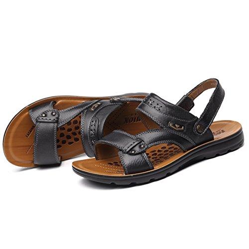 Herren Sandalen Modische Sandaletten Gummi-Außensohle Antirutsch Offene Zehen Bequeme Sommer Pantoletten Schwarz