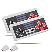 Kyerivs Wireless Game Controller for NES Classic Edition, 2.4G No-wired Gamepad Joypad with Receiver for NES Classic Gaming System Console (Grey*2)