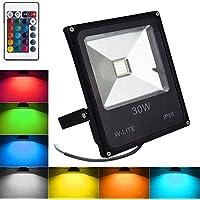 RGB LED Foco exterior de decoración Impermeable, Proyector Decorativo, foco de fiesta regulable, 16 colores y 4 modos, Funciona con control remoto, IP66, 30W 86-265V, Sin Enchufe [Clase de Eficiencia Energética A +]