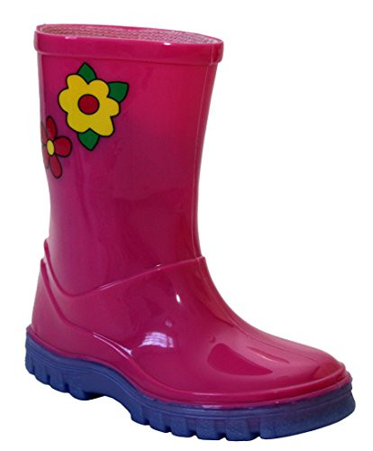Girls Childrens Kids Infants Mid Calf Pink Flowers Waterproof Wellington Wellies Puddle Boots UK Sizes 3-10