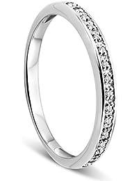 Orovi Damen-Ring Memoire Hochzeitsring Weißgold oder GelbGold 9 Karat (375) Brillanten 0.05 ct Verlobungsring Diamantring